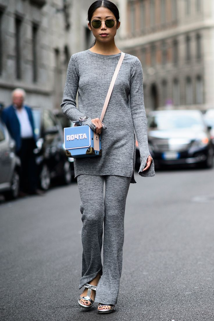 The two rules of knit separates: The pants must be flares and the accessories are best in metallics. via @stylelist