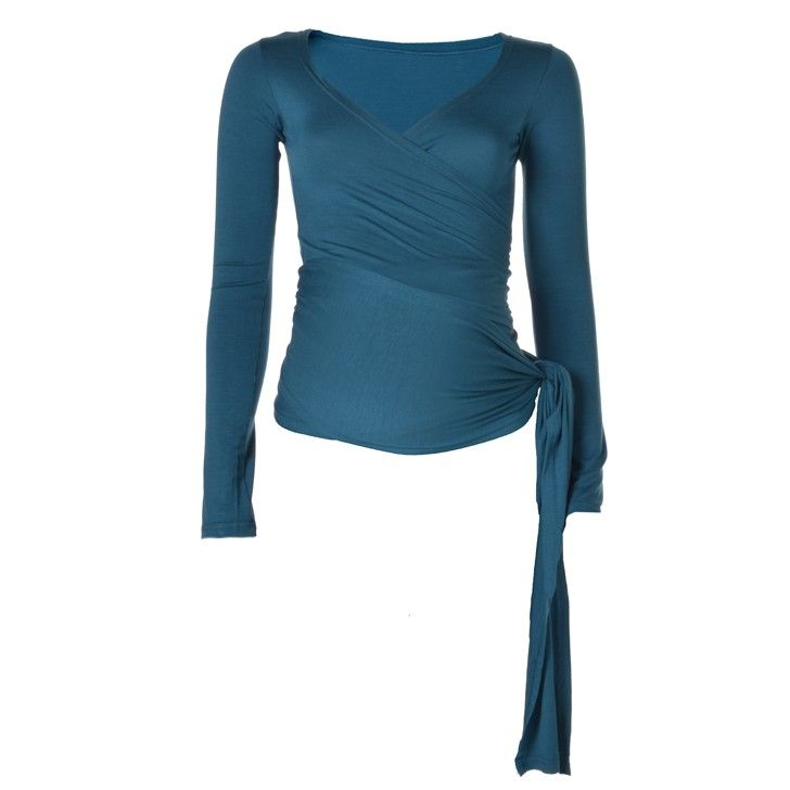KICKER CLOTHING | Long-Sleeved Wrap Top in Teal - Moms and Maternity - kinderelo.co.za