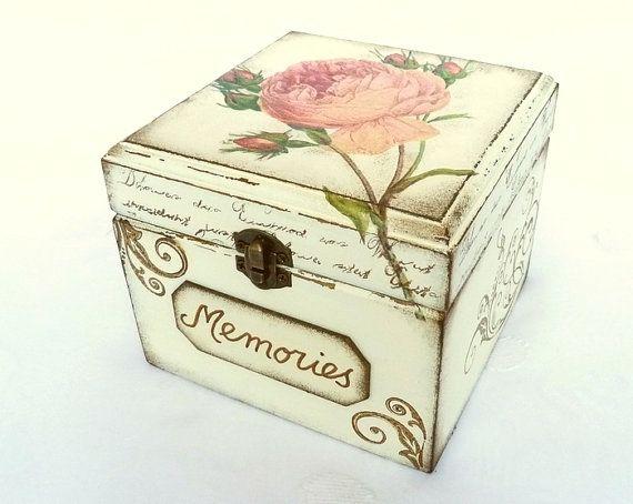 Pink Rose Box Memories Keepsake Treasure Trinket by SayaArtDesign, $38.00