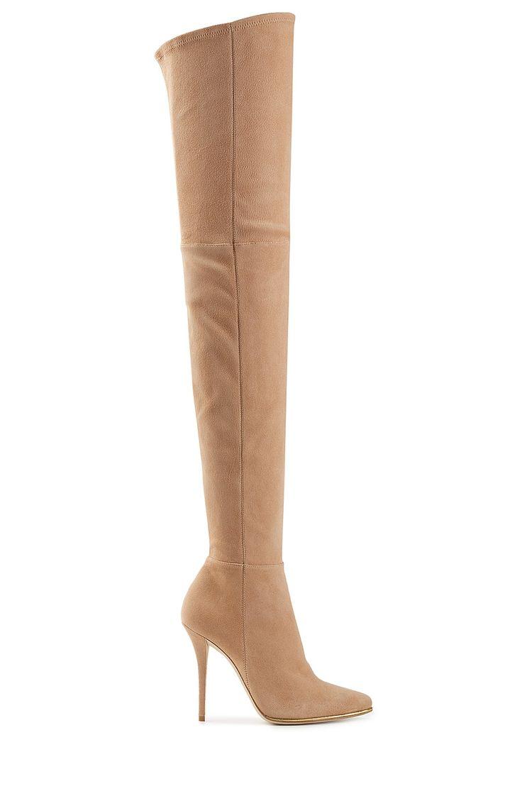 BALMAIN Suede Thigh-High Boots. #balmain #shoes #boots