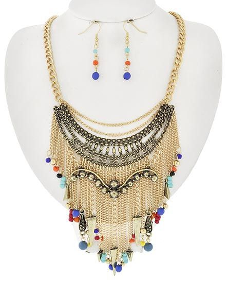 Bohemian Gold Beaded Necklace and Earrings