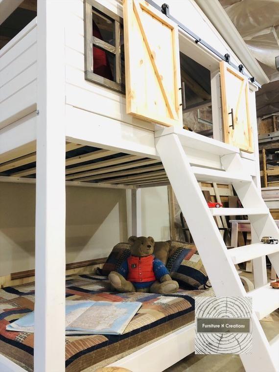 Farmhouse Full Bunk Bed Barn Door Bed Kids Beds House Etsy House Beds For Kids Full Bunk Beds Door Bed