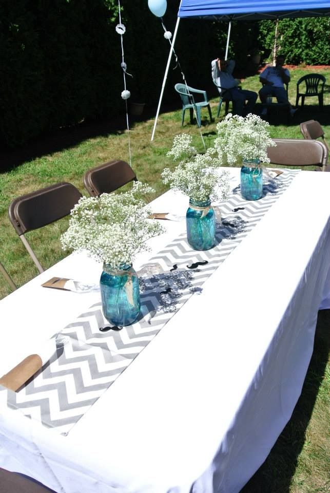 Chevron runner blue DIY mason jars mustache table scatter