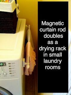 Magnetic curtain rod adds a drying rack in the laundry room.