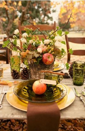 fallFall Tables Sets, Tables Design, Tables Scapes, Tablescapes, Pine Cones, Tables Arrangements, Places Cards, Thanksgiving Tables Sets, Fall Wedding