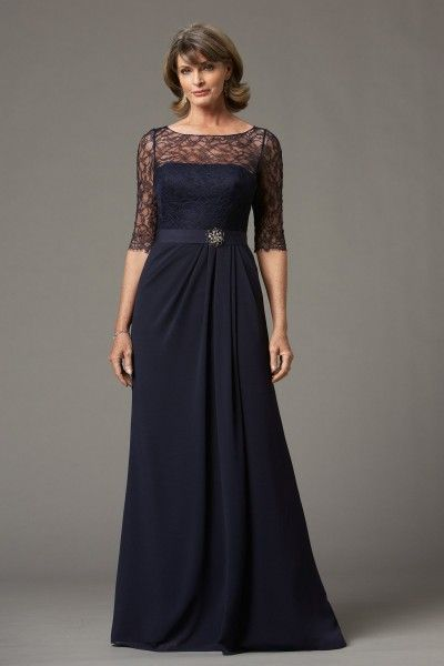 Collection 20 Dress 72571.  Tried on navy version at J. Lynn in Lawrence.  Comes in a dark gray (Falcon) with dark gray lace.  Can do a black or gray belt.