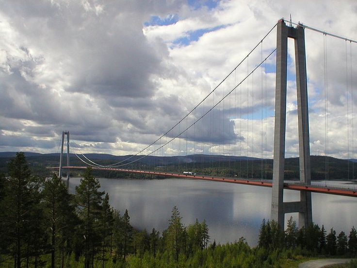 High Coast Bridge (Hoga Kusten Bridge) is a suspension bridge crossing the mouth of the Angermanalven river near Veda, on the border between the Harnosand and Kramfors municipalities in the province of Angermanland in northern Sweden---it is the 3rd longest in Europe, and the 11th longest in the world.