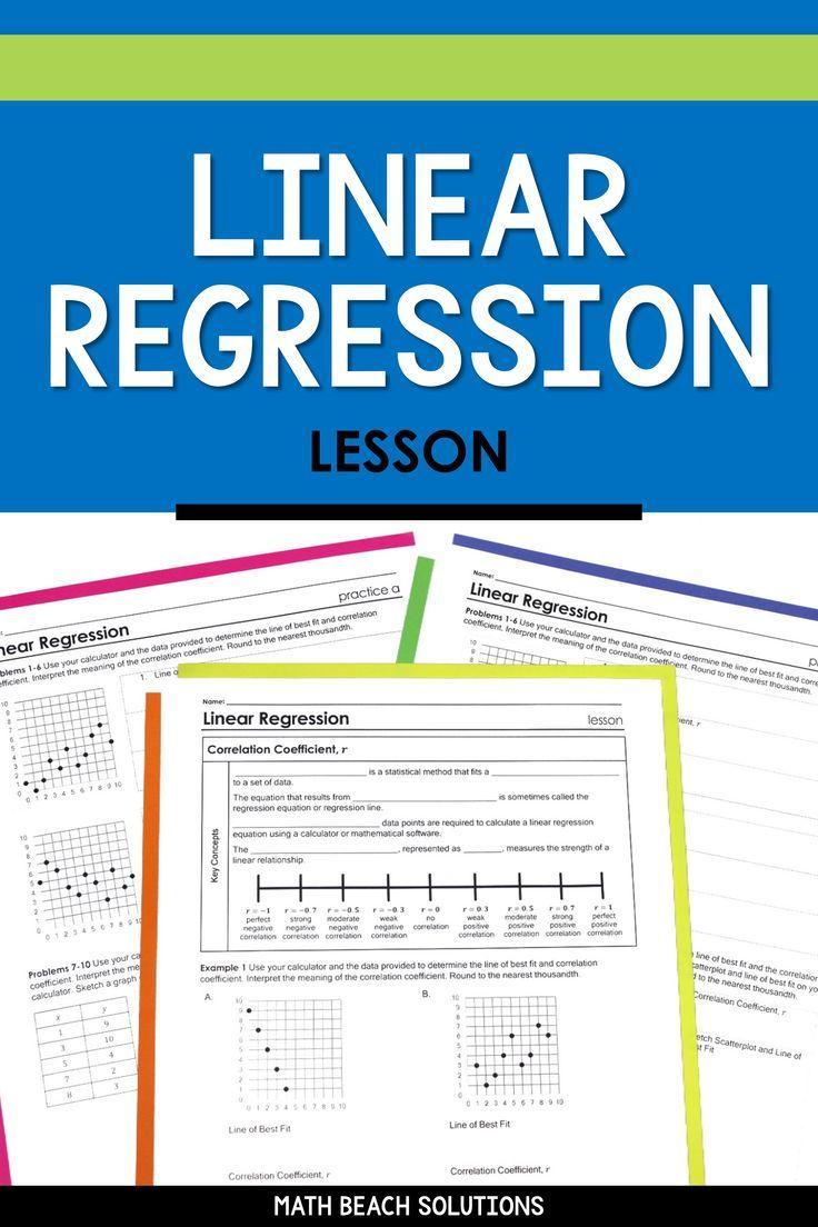 Linear Regression Lesson In 2020 Algebra Lesson Plans Linear Regression Algebra Lessons