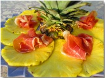 Pineapple carpaccio with prosciutto