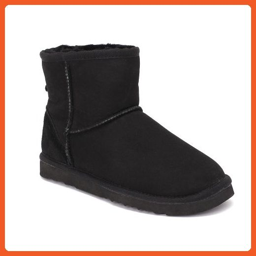 Sheep Touch Women's Classic Mini Twin-Face Sheepskin Boots Black Size 8 - Boots for women (*Amazon Partner-Link)