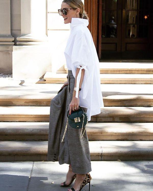 edgy white shirt Olivia Palermo style