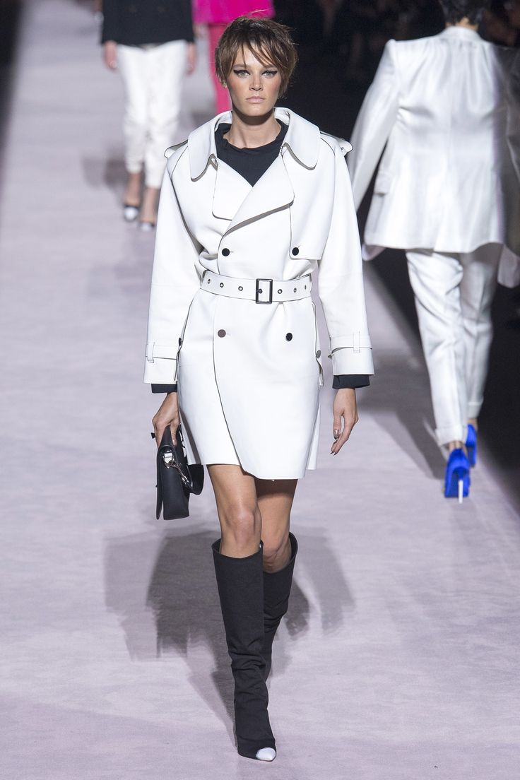 Monochromatic outfit - white belted trench coat with knee high boots - coordinated all the way to the the caps - Tom Ford Spring 2018 Ready-to-Wear  collection #rockingTF...x