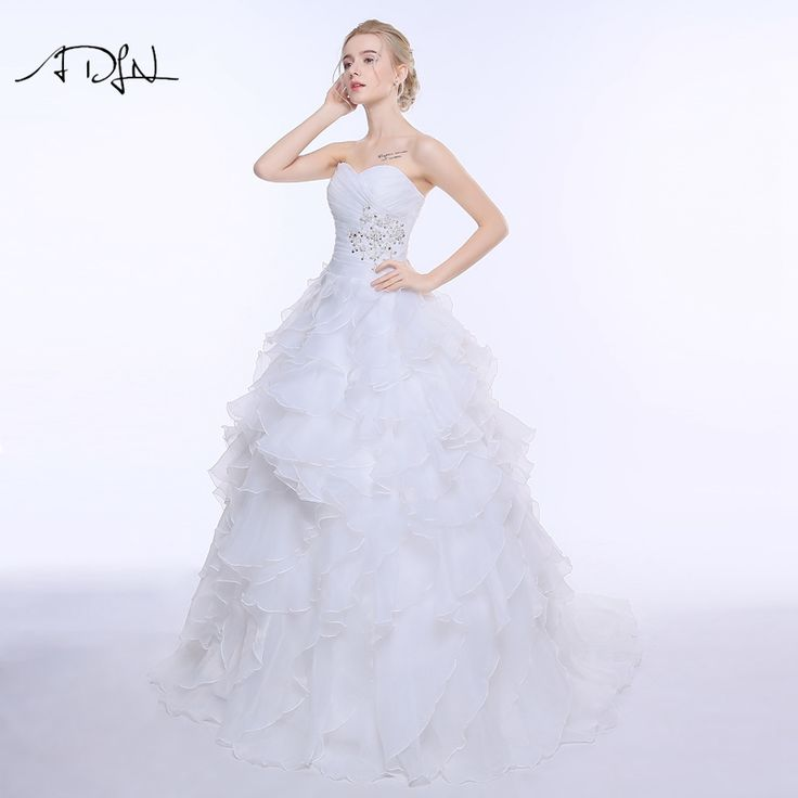 A-line Ruffles Beading Sweetheart Organza Wedding Dress - Uniqistic.com