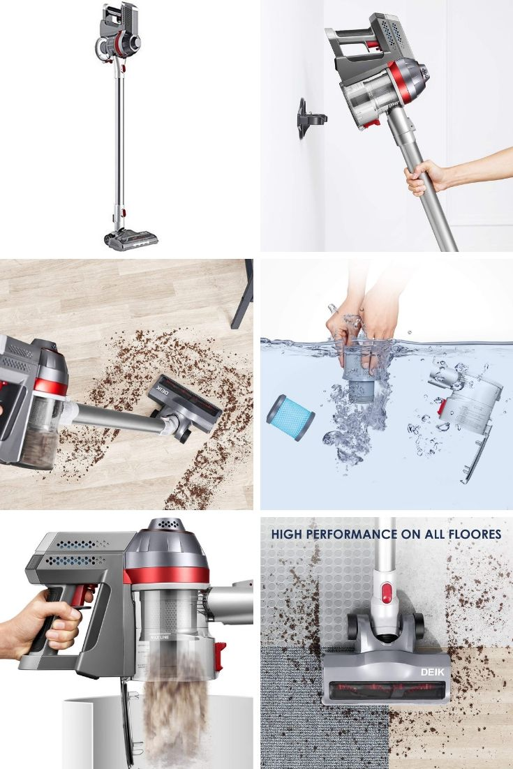 Deik Cordless Vacuum Cleaner Stick And Handheld Vacuum With 7kpa Powerful Suction Wall Mount Sliver Handheld Vacuum Vacuum Cleaner Cordless Vacuum Cleaner