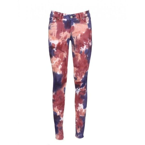 Paige Pink And Purple Tie And Dye Verdugo Jeans (1.140 RON) ❤ liked on Polyvore featuring jeans, pants, bottoms, pantalones, trousers, tie-dye jeans, purple skinny jeans, red slim jeans, paige denim skinny jeans and slim fit jeans