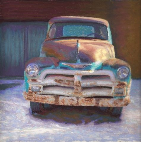 Old Truck Santa Fe Pastel Painting by Poucher, painting by artist Nancy Poucher