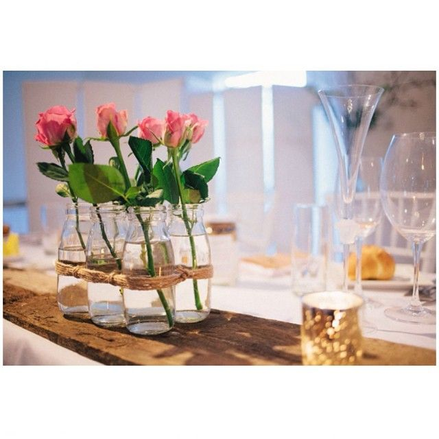 Beautiful pink roses in our 6 bottle vase.#willowandvine #floral #vases #events #eventdecor #rustic #rusticglam #party #weddings #hightea