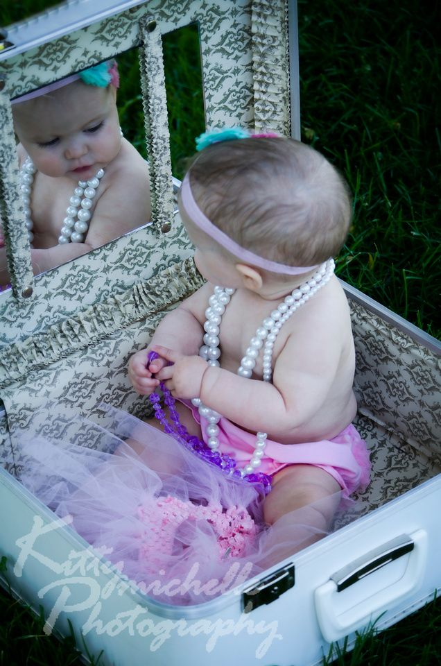 Photo by Kitty Michelle Photography.  Baby Girl  in vintage suitcase.  Got lucky finding a suitcase with a mirror!