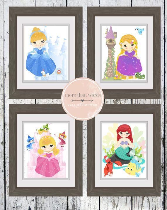 "Printable Disney Princess Nursery Prints Set of 4 8x10"" JPEG Rupunzel, Aurora, Cinderella and Ariel INSTANT DOWNLOAD"