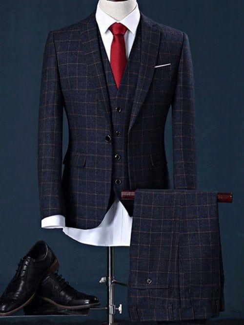 29fd21f95 Checked Blazer Three Piece Suit in Slim Fit - CADETBLUE L