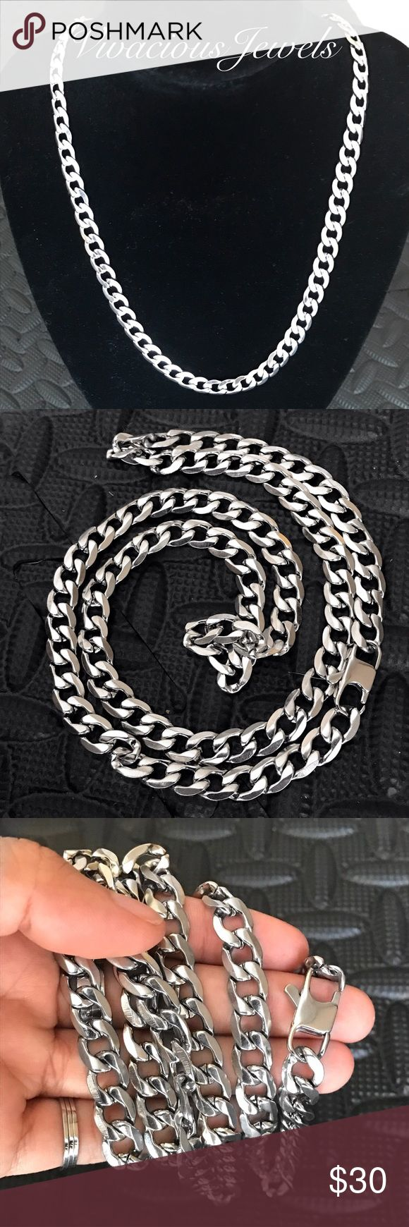 "8MM Stainless Steel Flat Cuban Chain Necklace Brand new Price firm No trades Gift box included  Metal: Stainless steel Color: Silver Width: 8mm  Chain lengths 26"", 28"", 30""  Stainless steel does not rust or turn the skin green Accessories Jewelry"