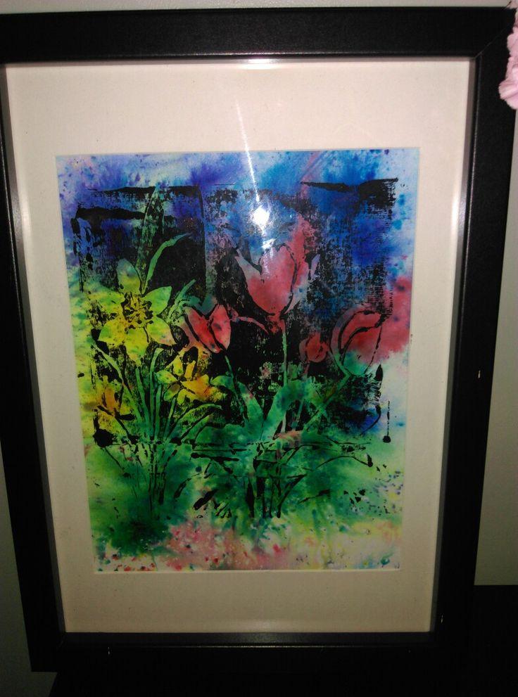 Brusho and acrylic paint linoprint