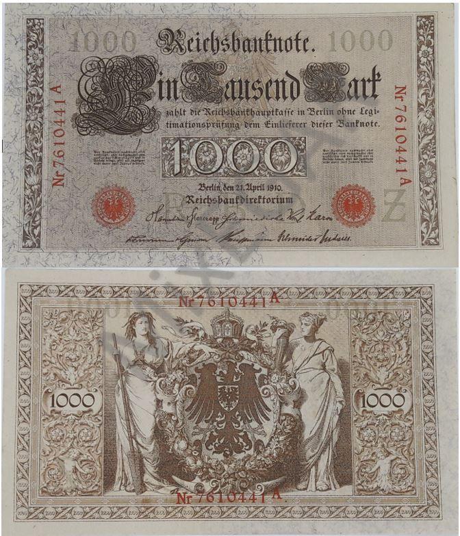 Germany 1000 Mark 1910 P 44b Unc Money Template Money Notes Money Poster