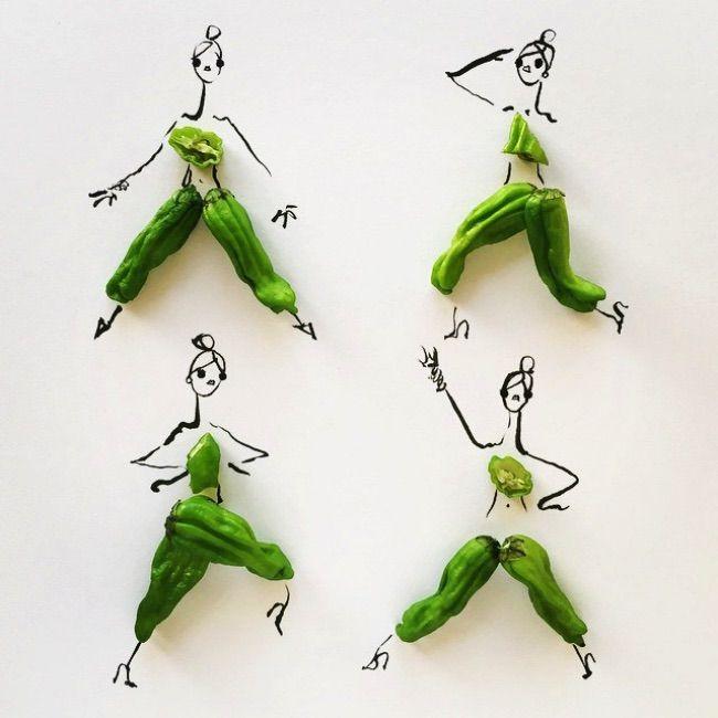 On reste avec la nourriture pour découvrir cette fois-ci les délicieuses illustrations de mode composées uniquement de fruits et de légumes signéesGretchen Röehrs.  Couleurs nature C'est dans la belle ville de San-Francisco aux Etats-Unis que cette illustratrice de mode met en images ses