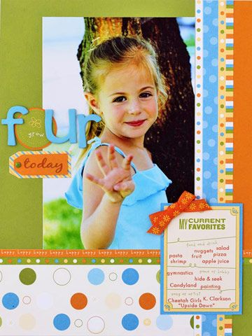 Favorite Things Birthday Page.  I love the idea of including the birthday child's favorite things!