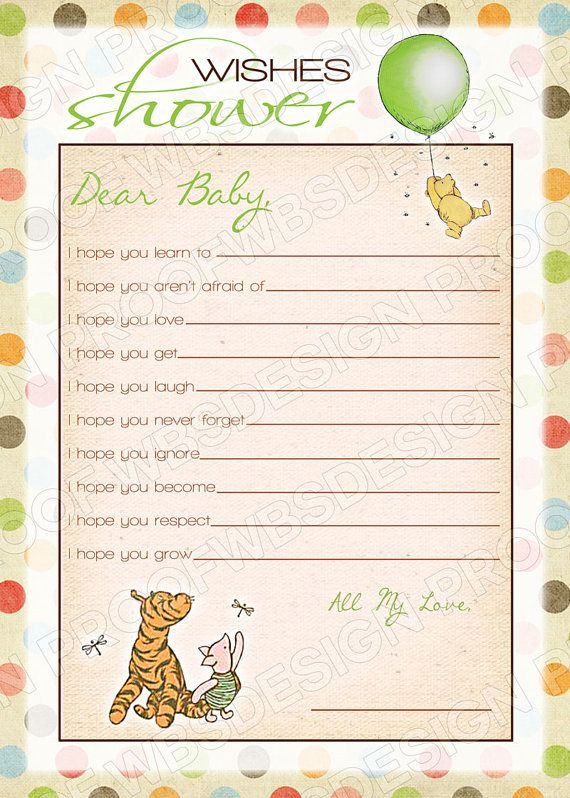 Printable Classic Winnie The Pooh Wishes Baby By