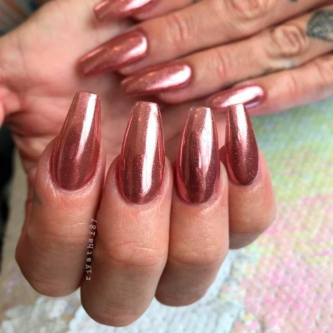 27 Prettiest Rose Gold Nails Designs You Should Try Out Chrome Rose Gold Nails | 27 Prettiest Rose Gold Nails Designs You Should Try Out; <a class=