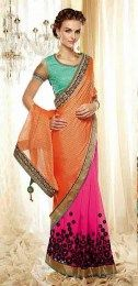Orange Color Opulent Embroidered Designer Sari For Party & Other Occasions