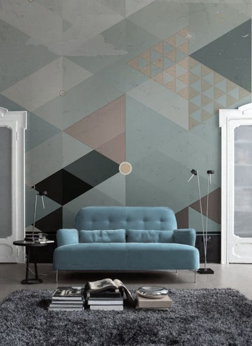 Harry sofa from Ligne Roset together with a b-e-a-u-tiful wallpaper
