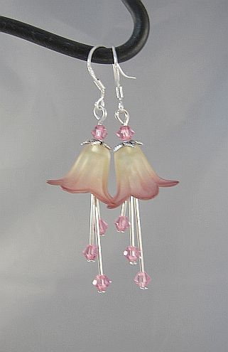 Lily Flower Earrings Lucite Yellow and Pink with by EvaLineJewelry