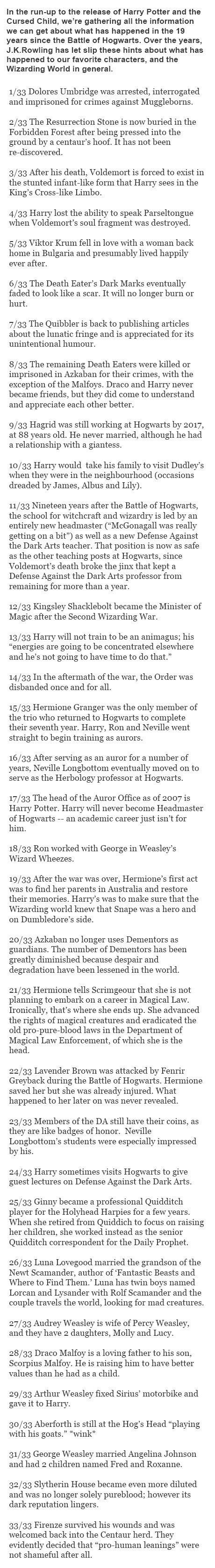 33 Things That Have Happened In The Harry Potter Universe Since The Series Ended.