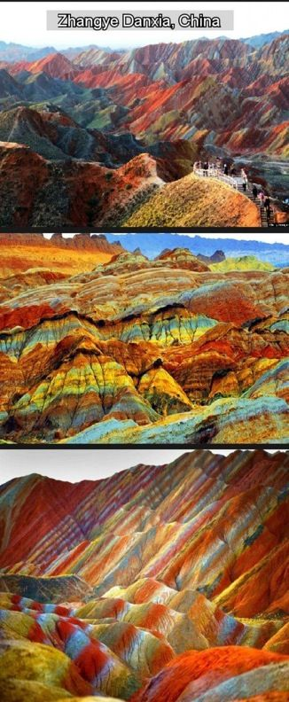 Colorful mountains in China.