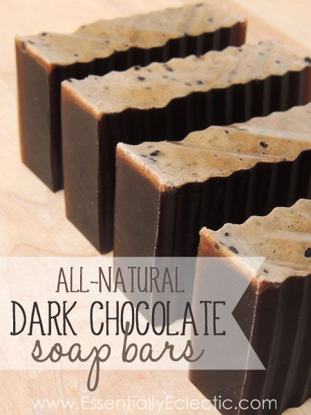 DIY All-Natural Dark Chocolate Soap Bars  | www.EssentiallyEclectic.com | These all-natural soap bars are almost delicious enough to eat!