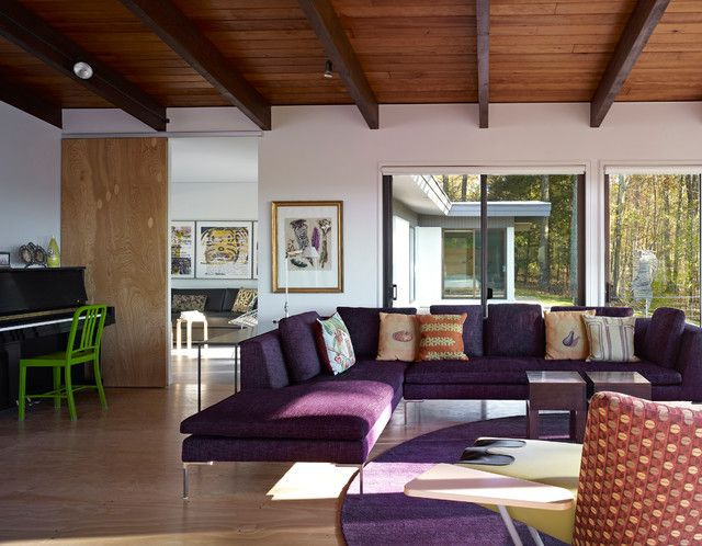 Sexy Purple Sofas Selection to Energize Your Lounge: Mid Century Interior Design Ideas Applied In Purple Sofas Set Unit Finished With Wooden Ceiling Unit With Wooden Floor