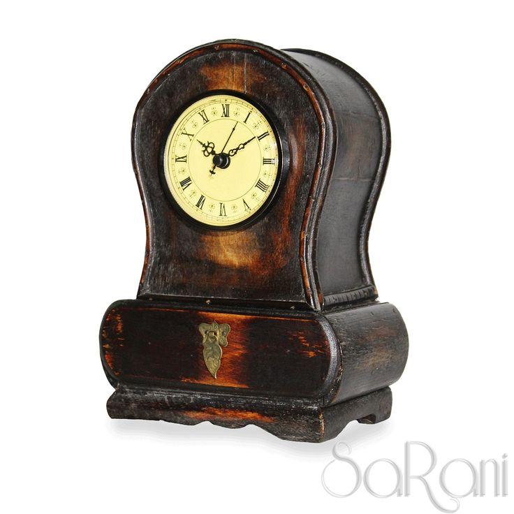 Orologio Antico Legno Scuro Da Tavolo Numeri Romani