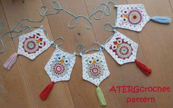 Crochet pattern owl garland by ATERGcrochet by ATERGcrochet, €2.75