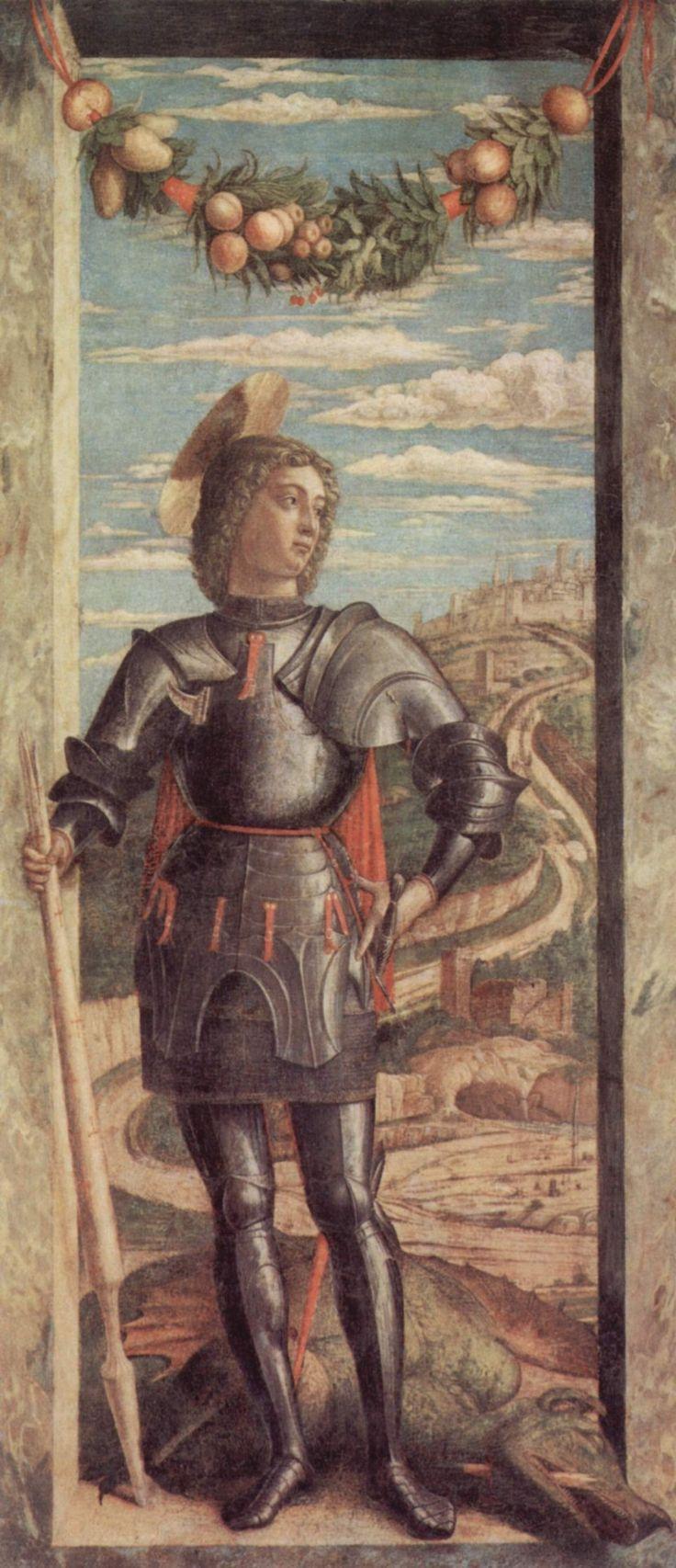 Andrea Mantegna.  Hl. Georg. Um 1467, Tempera auf Leinwand, 66 × 32 cm. Venedig, Gallerie dell'Accademia. Wahrscheinlich linker Flügel eines Altares. Italien. Renaissance.  KO 03230
