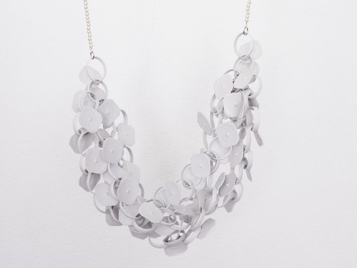 A necklace from German jewelry designer Jorg made from - get this - milk tabs pulled off gallon milk jugs!!  It's actually really beautiful, and I'm saving all my milk tabs to make my own now.  No tutorial unfortunately, but seems pretty easy to replicate.