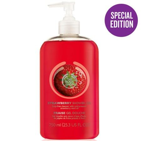 The Body Shop STRAWBERRY SHOWER GEL 750ML This soap-free shower gel contains real strawberry seed oil. It has a deliciously sweet scent. • Soap-free • Lather-rich