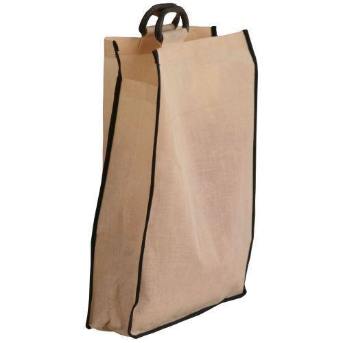 Tan Colour Burlap Fabric Geometric Cut Jute Shopper Bag