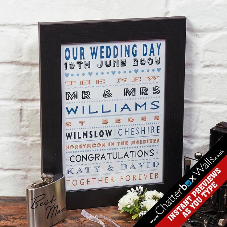 Personalised word art print for weddings