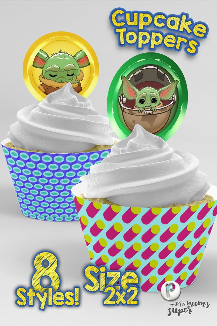 Surprising Mandalorian Baby Yoda Cupcake Toppers Kids Birthday Party Funny Birthday Cards Online Overcheapnameinfo