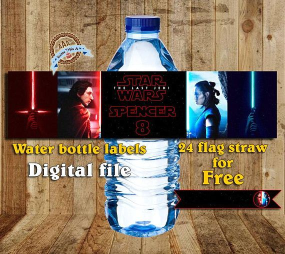 Personalized water bottles labels Star Wars the last jedi