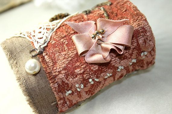 Victorian Fabric Textile Wrist Cuff Bracelet Vintage Lace Buttons Silk Hand Embroidery on Etsy, $92.00