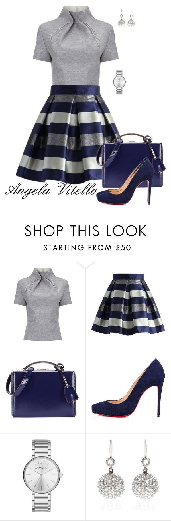"""Untitled #608"" by angela-vitello on Polyvore featuring J. JS Lee, Chicwish, Mark Cross, Christian Louboutin, Marc by Marc Jacobs and Nam Cho"