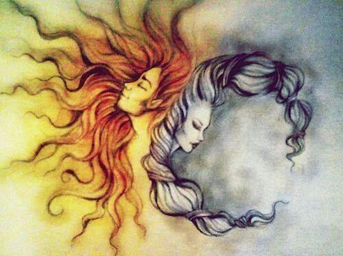 Illustration for tattoo Sun and moon
